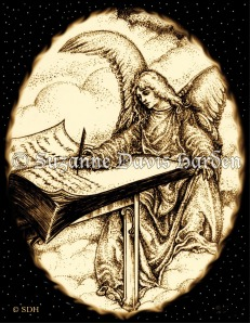 Angel Writing In The Book Of Life Pen & Ink Illustration © S.D. Harden All Rights Reserved.